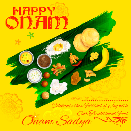 sumptuous: illustration of Onam Sadya feast on banana leaf