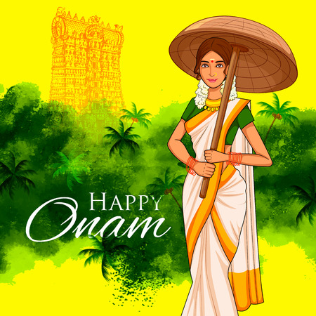 indian culture: illustration of South Indian Keralite woman with tradition palm leaf umbrella, Olakkuda celebrating Onam Illustration