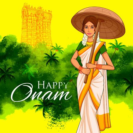 illustration of South Indian Keralite woman with tradition palm leaf umbrella, Olakkuda celebrating Onam Illustration