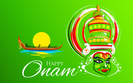 kerala culture: illustration of Kathakali dancer face and boat racing for Onam celebration