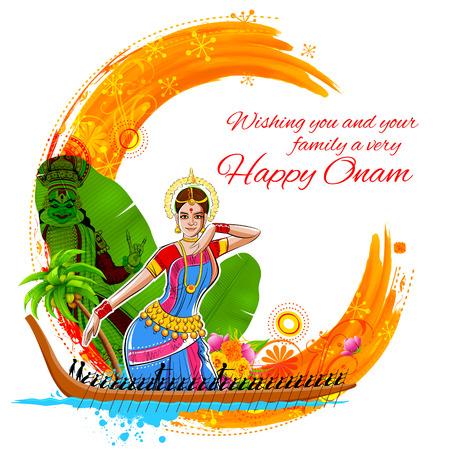 gente saludando: Ilustración de fondo de Onam que muestra la cultura de Kerala