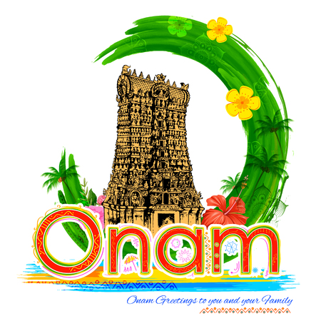 spiritual architecture: illustration of Meenakshi temple in Onam celebration background