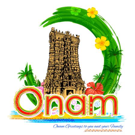 malayalam: illustration of Meenakshi temple in Onam celebration background