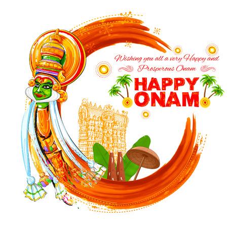 malayalam: illustration of colorful Kathakali dancer face on grungy background for Happy Onam