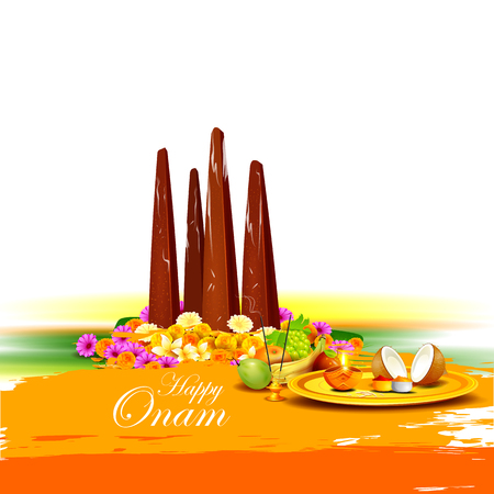 kerala: easy to edit vector illustration of Happy Onam  holiday for South India festival background Illustration