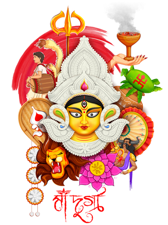 durga: illustration of goddess Durga in Subho Bijoya Happy Dussehra background with bengali text meaning Mother Durga