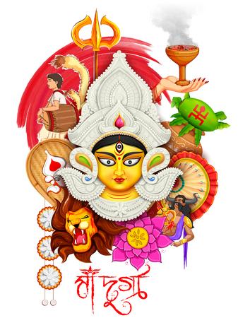 hinduismo: Ilustración de la diosa Durga en el fondo Subho Bijoya feliz Dussehra con el texto bengalí significado Madre Durga Vectores
