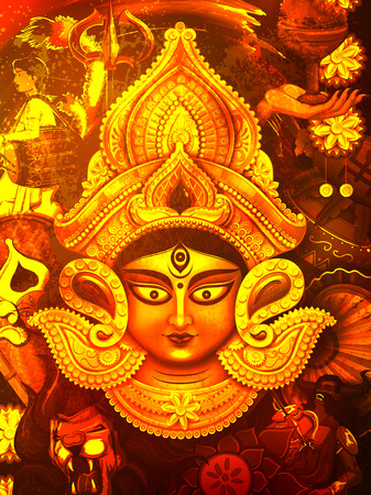 india culture: illustration of goddess Durga in Subho Bijoya Happy Dussehra background