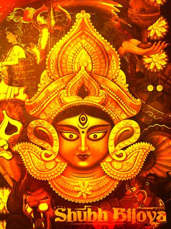 illustration of goddess Durga in Subho Bijoya Happy Dussehra background