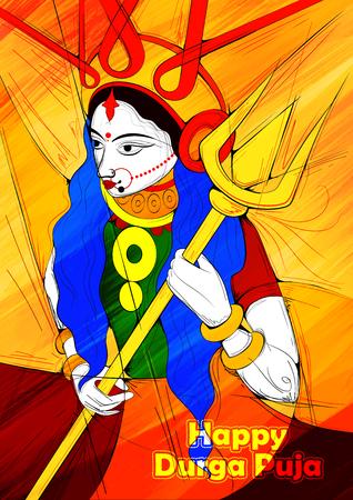 bengal: illustration of goddess Durga in Subho Bijoya Happy Dussehra background with Durga Puja greetings