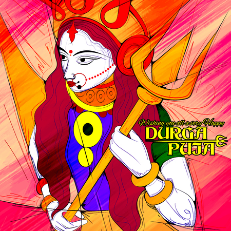 mahishasura: illustration of goddess Durga in Subho Bijoya Happy Dussehra background with Durga Puja greetings