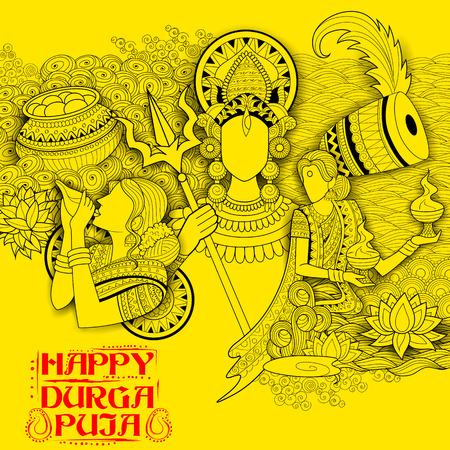 Feier: Darstellung der Göttin Durga in Subho Bijoya Glückliche Dussehra Hintergrund