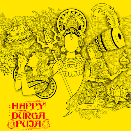 illustration of goddess Durga in Subho Bijoya Happy Dussehra background