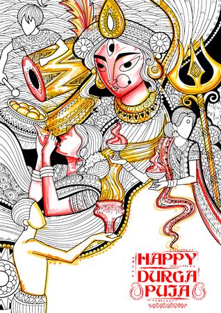 Ilustración de la diosa Durga en el fondo Subho Bijoya feliz Dussehra Ilustración de vector