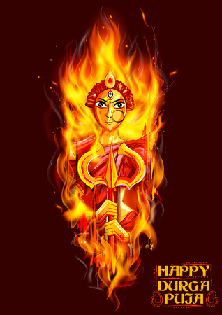 bengal fire: illustration of goddess Durga in Subho Bijoya Happy Dussehra background