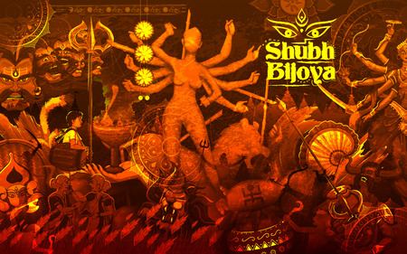 mahishasura: illustration of goddess Durga in Subho Bijoya Happy Dussehra background