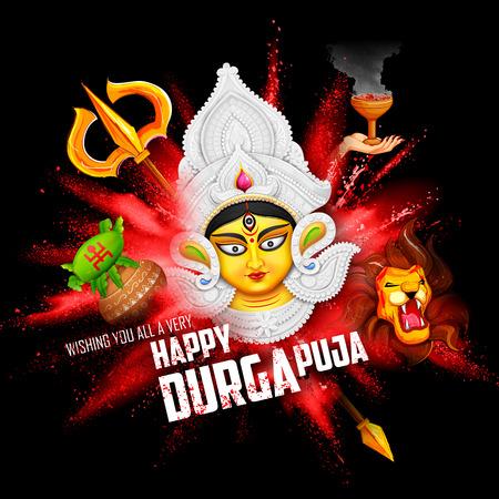 mahishasura: illustration of goddess Durga in Subho Bijoya Happy Dussehra background with Durga Puja Greeting Illustration