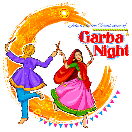 illustration of couple playing Dandiya in disco Garba Night poster for Navratri Dussehra festival of India Vectores