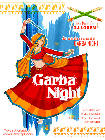 dharma: illustration of woman playing Dandiya in disco Garba Night poster for Navratri Dussehra festival of India