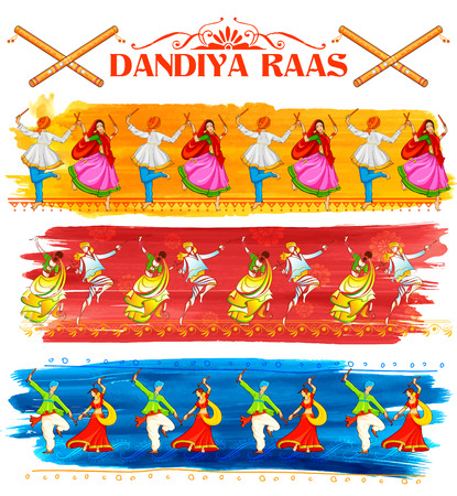 folk dance: illustration of couple playing Dandiya in disco Garba Night poster for Navratri Dussehra festival of India Illustration
