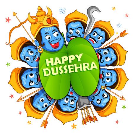 hinduismo: lustración de Ravana con diez cabezas de Dussehra Navratri festival de la India cartel