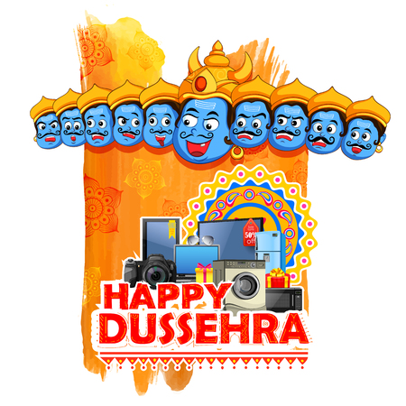 ramayan: illustration of ten headed Ravana for Happy Dussehra sale promotion