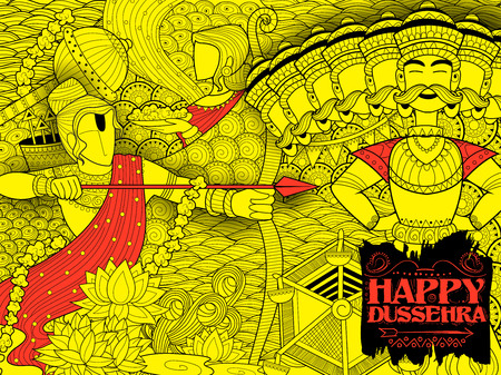 ramayan: illustration of Lord Rama with bow arrow killing Ravan in Dussehra Navratri festival of India poster Illustration