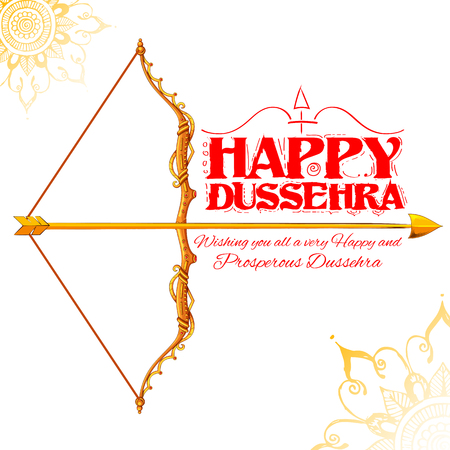 ramayan: illustration of bow and arrow in Happy Dussehra festival of India background