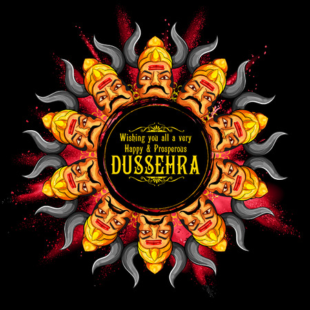 dashamukha: llustration of Raavana with ten heads for Dussehra Navratri festival of India poster