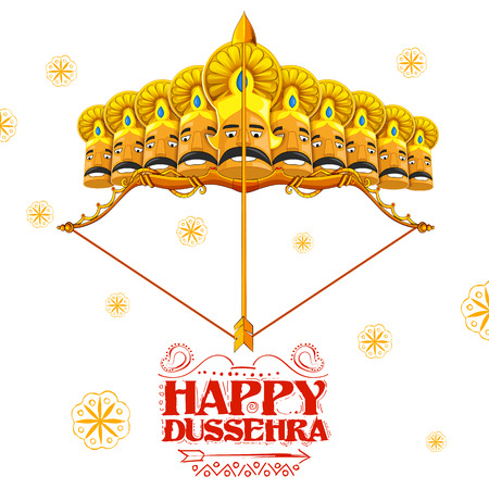 ravan: llustration of Raavana with ten heads on bow and arrow for Dussehra Navratri festival of India poster Illustration