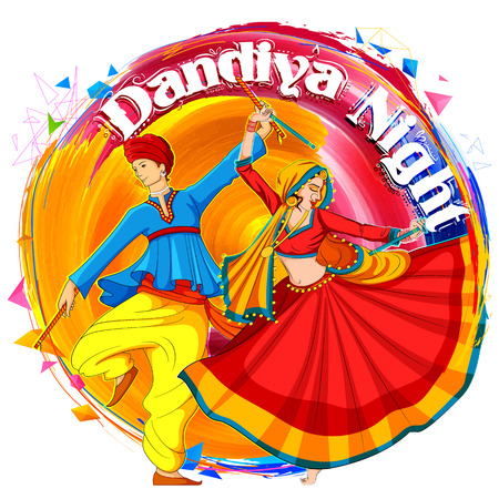 illustration of couple playing Dandiya in disco Garba Night poster for Navratri Dussehra festival of India Illustration