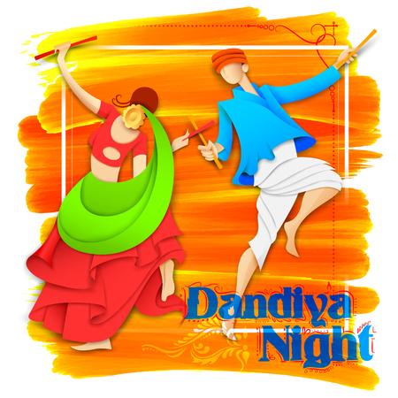 night dress: illustration of couple playing Dandiya in disco Garba Night poster for Navratri Dussehra festival of India Illustration