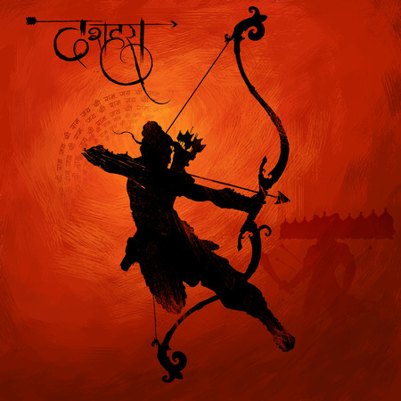 the ramayana: illustration of Lord Rama with arrow killing Ravana in Navratri festival of India poster with hindi text meaning Dussehra
