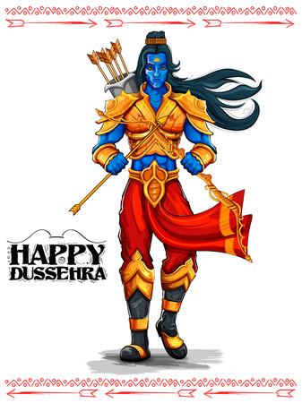 divinity: illustration of Lord Rama with arrow in Dussehra Navratri festival of India poster