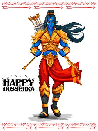 carnero: ilustración del Señor Rama con la flecha en Dussehra Navratri festival de la India cartel