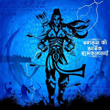 carnero: ilustración del Señor Rama con la flecha de matar a Ravana en Dussehra Navratri festival de la India cartel con el mensaje en el sentido Hindi desea para Dussehra Vectores
