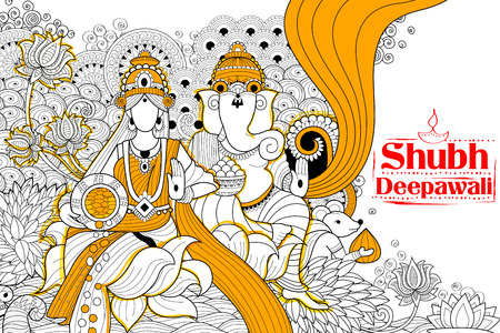 shubh: illustration of Goddess Lakshmi and Lord Ganesha on happy Holiday doodle background for light festival of India with message Shubh Diwali meaning Happy Diwali