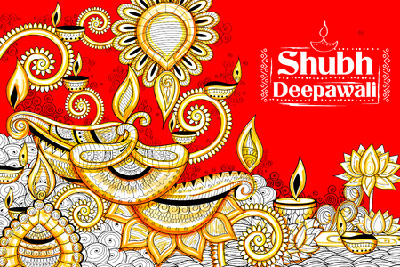 shubh diwali: illustration of burning diya on happy Holiday doodle background for light festival of India with message Shubh Diwali meaning Happy Diwali