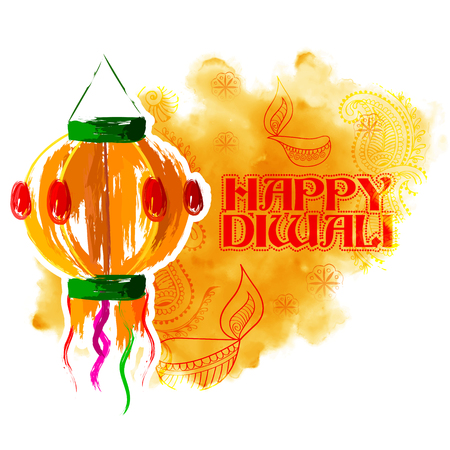 illustration of hanging Kandil on happy Diwali Holiday background for light festival of India