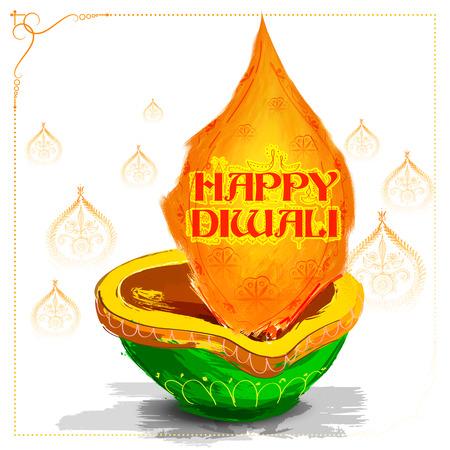 illustration of burning watercolor diya on happy Diwali Holiday background for light festival of India Illustration