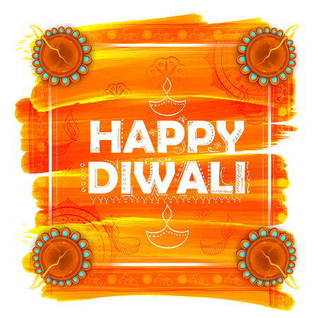 illustration of burning watercolor diya on happy Diwali Holiday background for light festival of India Illustration