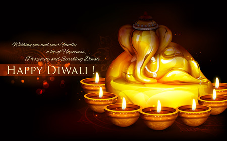 llustration of Ganesha with diya on happy Diwali Holiday background for light festival of India