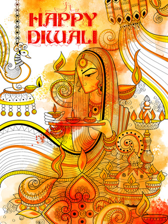illustration of burning diya on happy Diwali Holiday doodle background for light festival of India