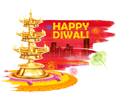 auspicious: illustration of burning diya on Happy Diwali Holiday watercolor background for light festival of India