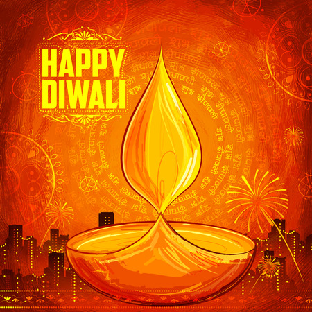 illustration of Shubh Deepawali (Happy Diwali) background with watercolor diya for light festival of India