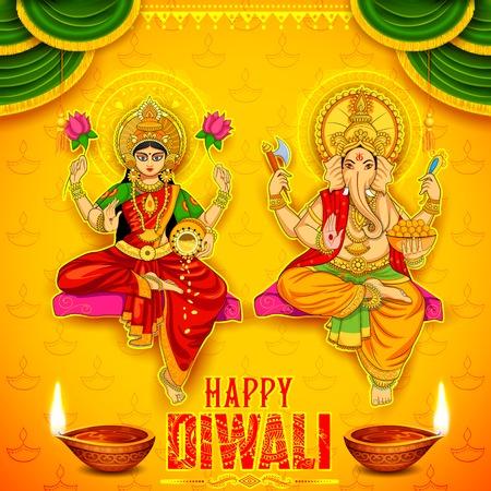 Darstellung der Göttin Lakshmi und Lord Ganesha auf glückliche Ferien doodle Hintergrund für Licht-Festival von Indien mit der Meldung Shubh Diwali Bedeutung Glückliches Diwali Vektorgrafik