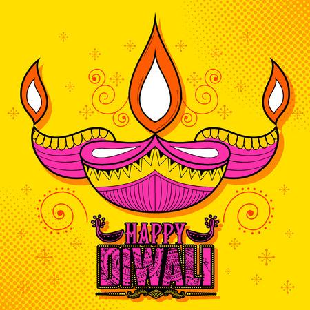 auspicious: illustration of burning diya on Happy Diwali Holiday background for light festival of India