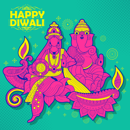 shubh diwali: illustration of Goddess Lakshmi and Lord Ganesha on happy Holiday doodle background for light festival of India with message Shubh Diwali meaning Happy Diwali