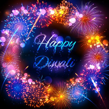 illustration of firecracker on Happy Diwali Holiday design for light festival of India