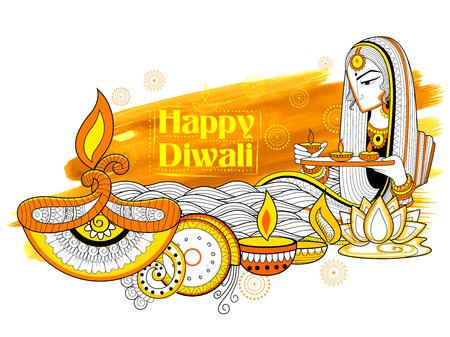 illustration of Lady burning diya on happy Diwali Holiday doodle background for light festival of India